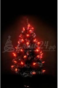 Елка оптоволоконная с красными звездами (80 см)