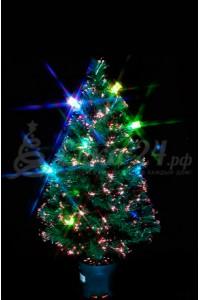 Елка оптоволоконная  с разноцветными фонарями (80 см)