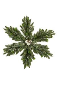 """Рождественская снежинка """"Нежность"""" с шишками и ягодами, двухсторонняя заснеженная 60 см"""