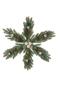 """Рождественская снежинка """"Мечта"""" с шишками и ягодами заснеженная 60 см"""